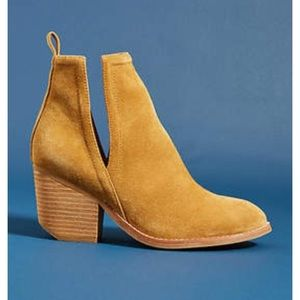 Jeffrey Campbell mustard yellow suede booties